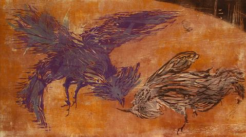<i>The Cock Fight</i><br>1963 Woodcut<br><br>#9095