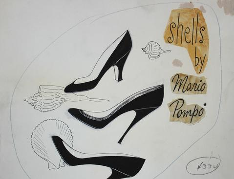 Shoes & Shells<br>Mid Century Gouache<br><br>#18593