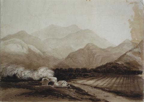 British Landscape in Sepia<br>Watercolor Scene<br><br>#10048