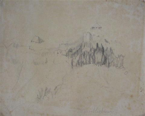Abstracted Hillside Homes<br>Early-Mid 1800s, Graphite<br><br>#10056
