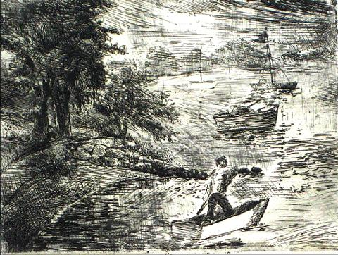 Expressive Lake Scene<br>Etching on paper<br><br>#10378