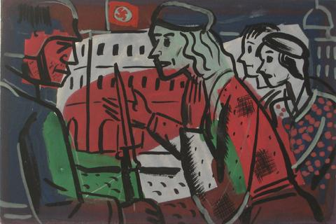 Political Confrontation<br>1930-60s, Tempera Paint on Paper<br><br>#13180