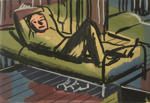 A Soldier On His Cot<br>1930-60s, Tempera Paint on Paper<br><br>#13184