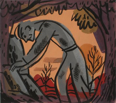 Wounded Soldier<br>1930-60s, Tempera Paint on Paper<br><br>#13192