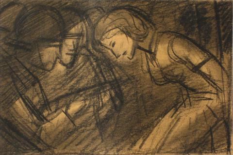 An Interrogation<br>1930-60s Graphite Sketch<br><br>#13197