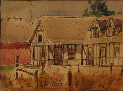 <i>Solvang House</i><br>1930-60s, Ink & Watercolor on Paper<br><br>#13398