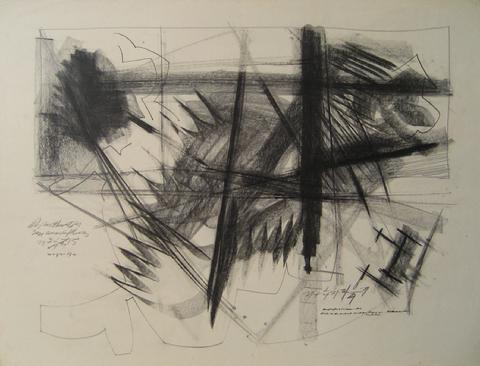 Bold Modernist Abstract<br>1967 Charcoal<br><br>#14905