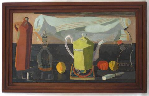 Cubist Still Life with Teapot & Fruit<br>1932 Oil<br><br>#15874