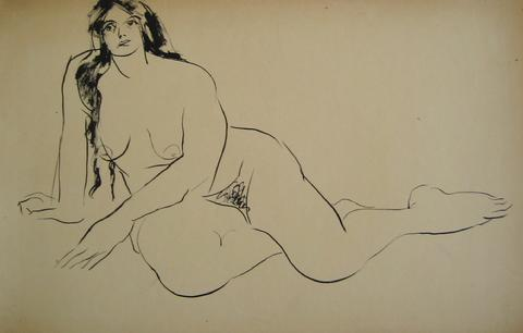 Reclining Nude<br>1930-50s Ink Wash<br><br>#15927