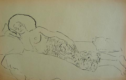 Contemplative Female Nude<br>Pen & Ink, 1930-50s<br><br>#15929