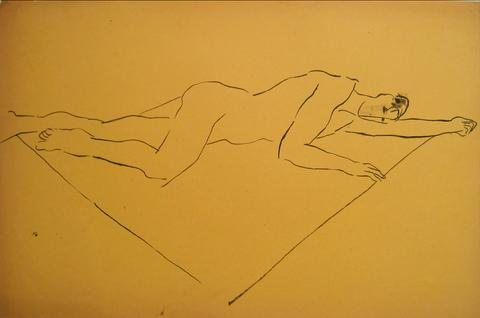 Reclining Male Nude<br>Pen & Ink, 1930-50s<br><br>#15963