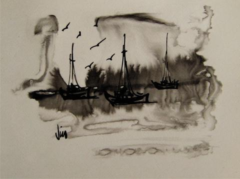 Abstracted Coast<br>1960s Ink Wash<br><br>#16209