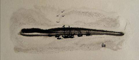 Modernist Abstracted Seascape<br>1960s Ink Wash<br><br>#16213