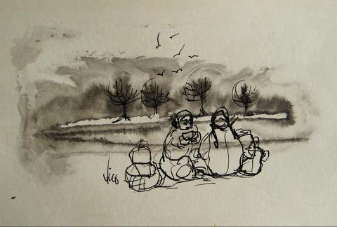 Figures by the Coast<br>1960s Ink Wash<br><br>#16222
