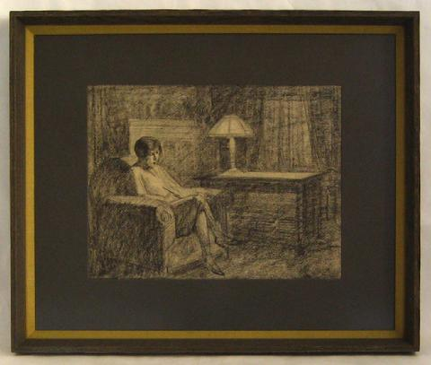 Reading by Lamp Light<br>1920-40s Charcoal Interior Scene<br><br>#9582