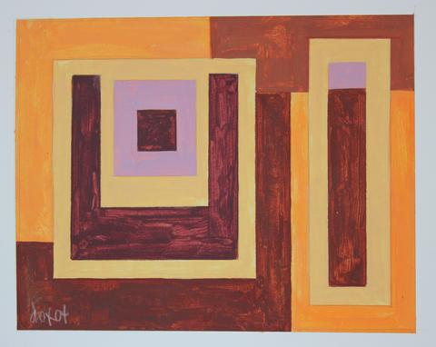 Warm Geometric Abstract<br>2004 Acrylic on Paper<br><br>#19206