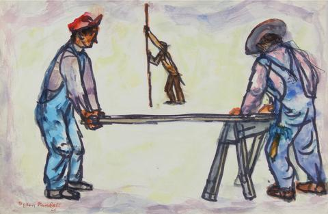 WPA Construction Scene<br>1960 Watercolor & Ink<br><br>#30680