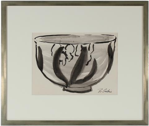 Monochromatic Drawing of A Bowl<br>1960s Ink Drawing<br><br>#9975