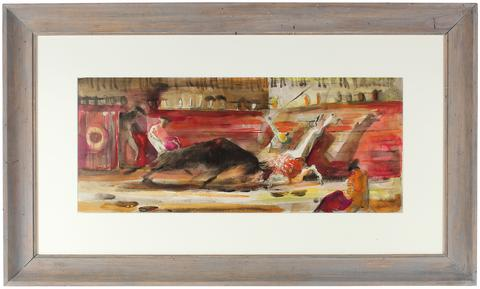 <i>Bullfight: Anxious Moment</i><br>Watercolor, Mid Century<br><br>#32983