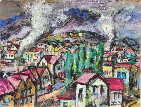 Colorful Cityscape<br>1946 Gouach & Pastel<br><br>#33191