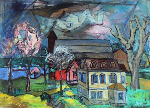 <i>Early Spring Near Iriquois</i><br>1956 Oil & Casein<br><br>#33271