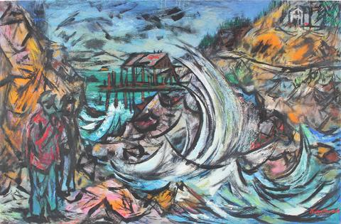 <i>Turbulent Coast</i><br>Oil & Casein Scene<br><br>#33531