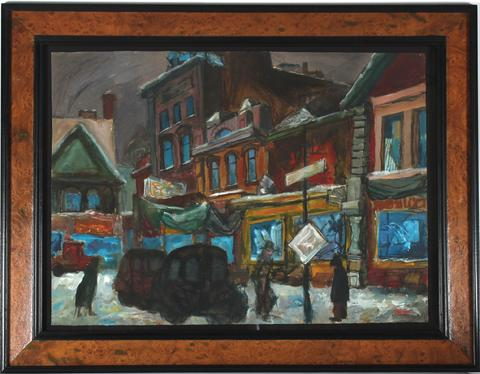 <i>Kensington, Toronto #2</i><br>1955 Oil & Casein on Paper<br><br>#33401