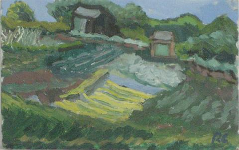 Northern California Abstracted Landscape<br>1940-70s Oil on Board<br><br>#4241
