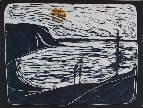 <i>Bear Valley II</i><br>1968 Woodcut on Mulberry Paper<br><br>#44045