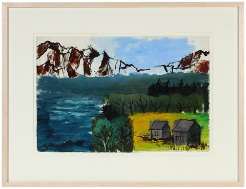<i>Farm by a Lake</i><br>1944 Gouache Landscape<br><br>#31355