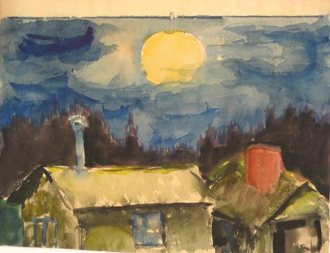 Moon Over the House<br>Mid Century Watercolor<br><Br>#5056