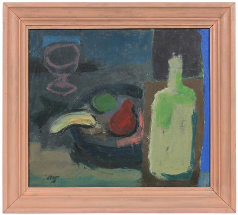 Modernist Fruit Still Life<br>Late 1940s Oil<br><br>#50615