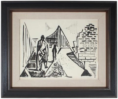 Abstracted Figures in Landscape<br>1961 Ink Wash Scene<br><br>#49942