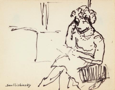 Woman in Thought<br>Ink, Mid Century<br><br>#57887