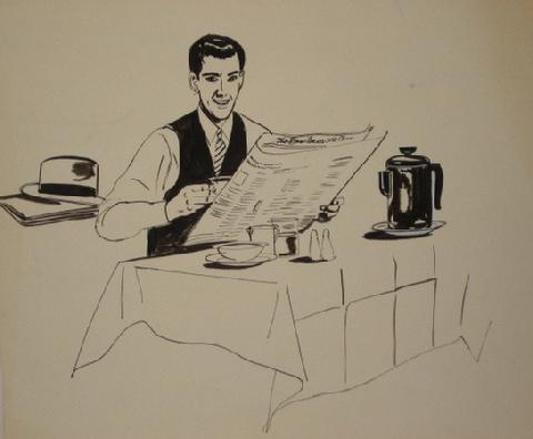 At the Breakfast Table<br>Ink, 1946-54<br><br>#5978
