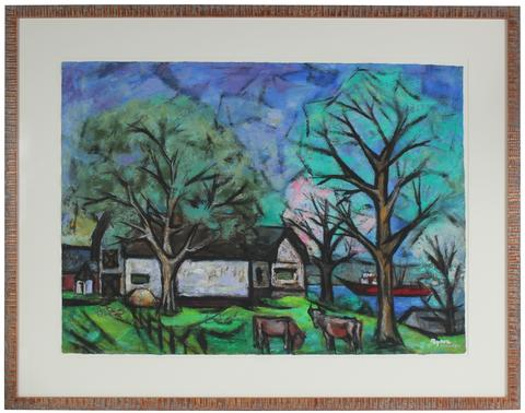 <i>House With Trees, Cows, And Boat</i><br>1955-56 Oil & Casein<br><br>#33283