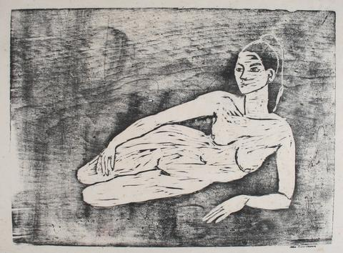Reclining Female Nude<br>1960-70s Woodcut<br><br>#71284