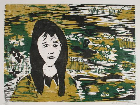 Portrait Of A Woman With Flowers<br>1960-70s Woodcut<br><br>#71285