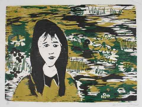 Woman With Flowers<br>1960-70s Woodcut<br><br>#71292