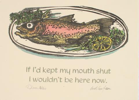 A Regretful Fish<br>Late Century Lithograph<br><br>#71297