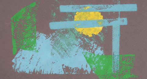 Blue, Green, & Yellow Abstraction<br>1960-70s Monotype<br><br>#71336
