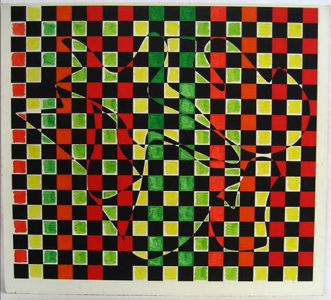Red-Yellow-Green Grid<br>1970s Acrylic<br><br>#7385