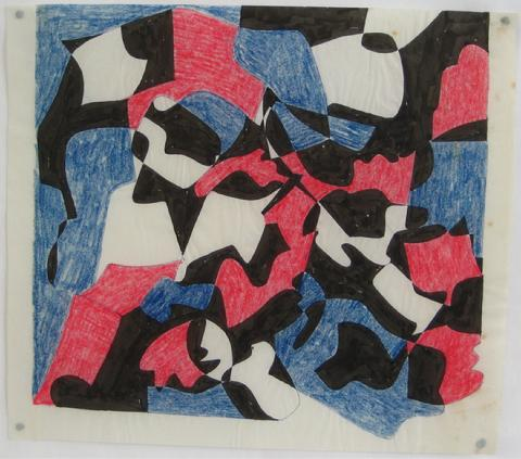 Red & Blue Geometric Study<br>1970s Ink & Colored Pencil<br><br>#7655