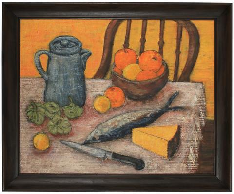 Preparing Dinner, Still Life<br>Mid Century Oil<br><br>#82065