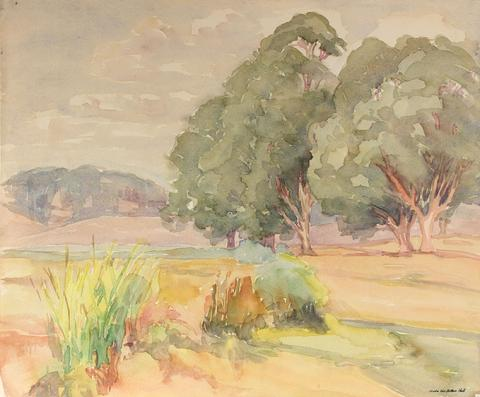 Watercolor Landscape with Trees<br>Mid Century California<br><br>#88030