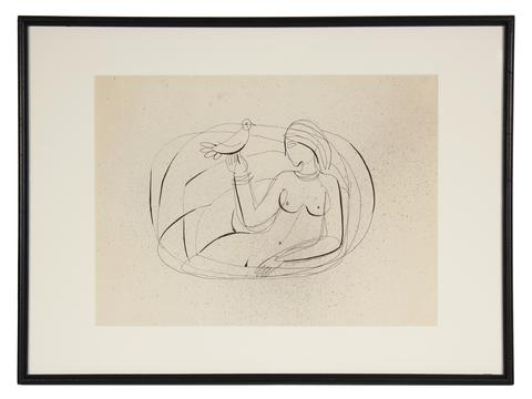 Minimalist Nude Line Drawing<br>Mid Century Ink on Paper<br><br>#72004