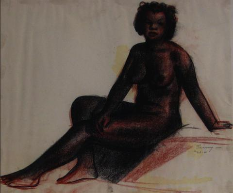Conte Crayon & Charcoal Reclining Nude, 1920-30s<br><br>#9476