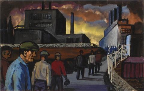 Industrial Workers<br>1920-40s Oil on Paper<br><br>#9594