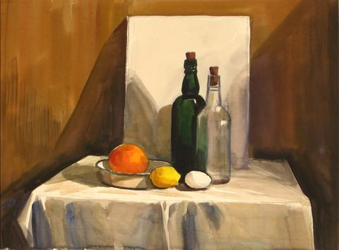 Still Life with Lemon & Egg<br>1930s Watercolor<br><br>#9600