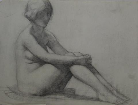 Pensive Female Nude<br>1920-30s Charcoal<br><br>#9737